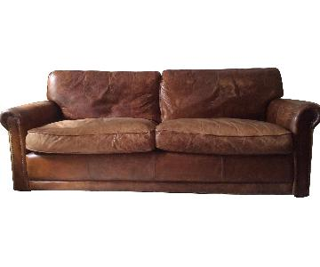 Restoration Hardware Leather Sofa w/ 2 Ottomans