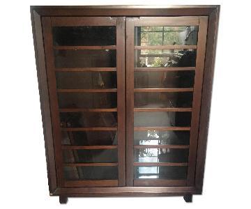 Crate & Barrel Bookcase w/ Glass Doors & Adjustable Shelves