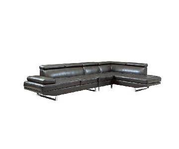 Charcoal Bonded Leather Sectional w/ Adjustable Headrest