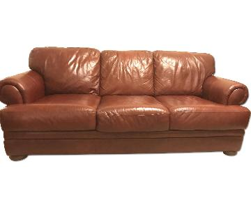 Italiana Divani Chateau dAx Brown Red Leather 3 Seater Sofa