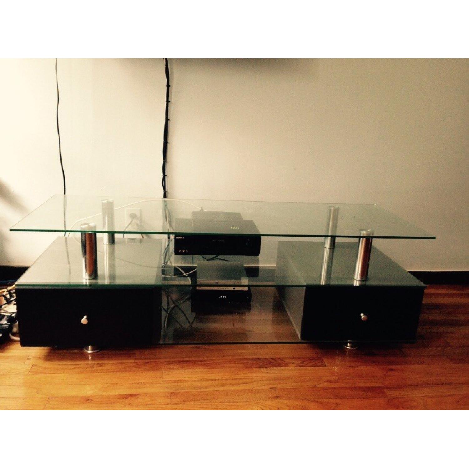 Contemporary Glass TV Stand with Drawers-0