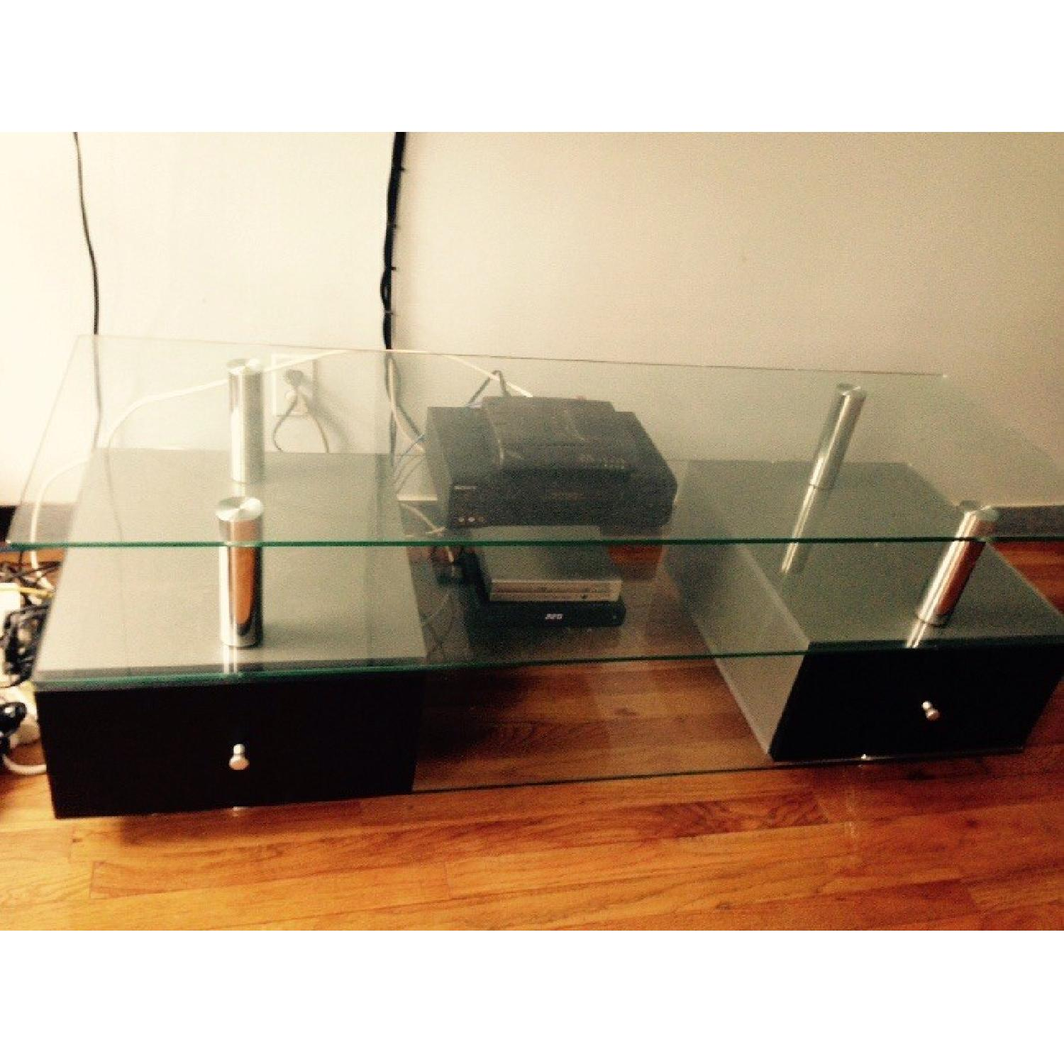 Contemporary Glass TV Stand with Drawers-1