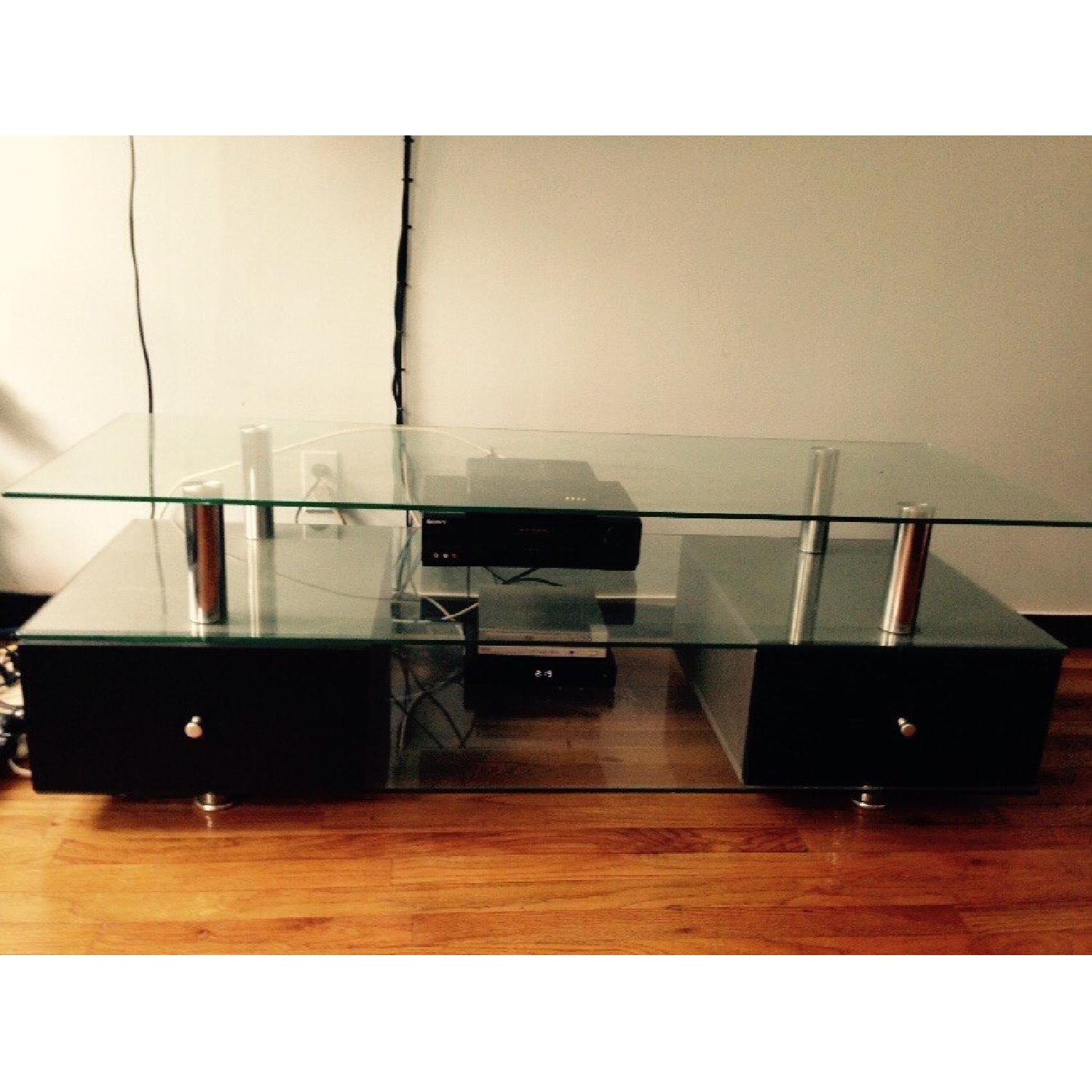 Contemporary Glass TV Stand with Drawers-2