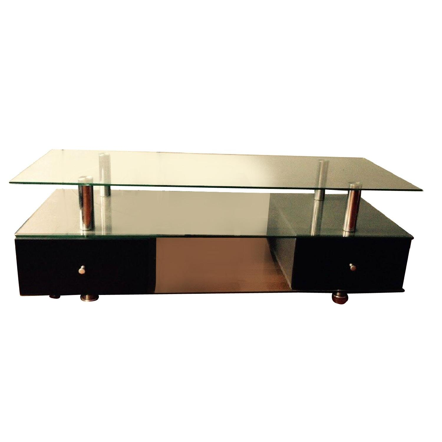 Contemporary Glass TV Stand with Drawers