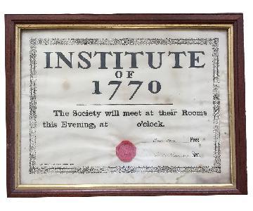 Historic Institute of 1770 Framed - Dated November 1, 1876