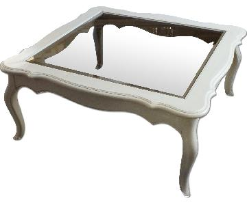 Ethan Allen Country French Coffee Table w/ Beveled Glass