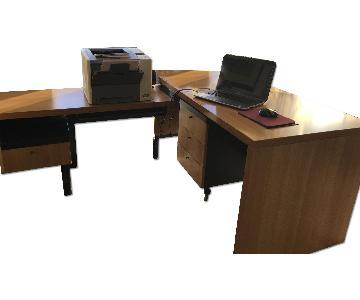 Home Office L-Shape Computer Desk w/ Keyboard Tray