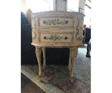 Hand Painted Oval Side Table with Drawers