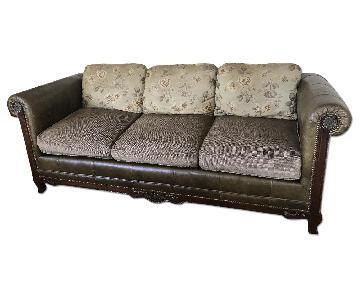 Leather & Fabric 3 Seater Sofa