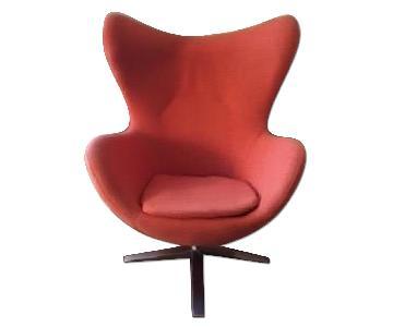Wolf Home Design Modern Orange Accent Egg Chair