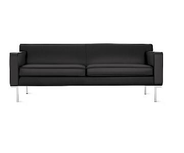 Design Within Reach Black Leather Sofa