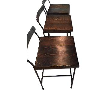 Artist-Crafted Wood & Hand-Forged Iron Kitchen Stools