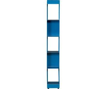 CB2 Carlson II Blue Tower Bookcases