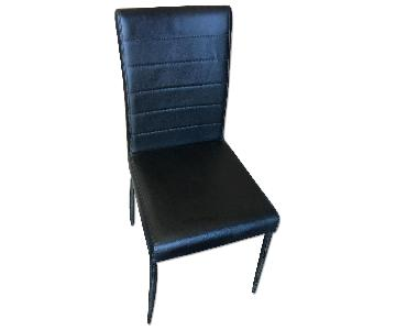 Modern Side Chair in Black Leatherette w/ Metal Frame