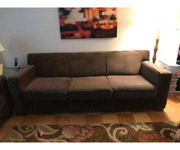 Room & Board Ian Brown Microfiber Sofa + Loveseat