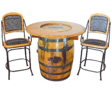 Jack Daniels Whiskey Barrel Table w/ 2 Stools