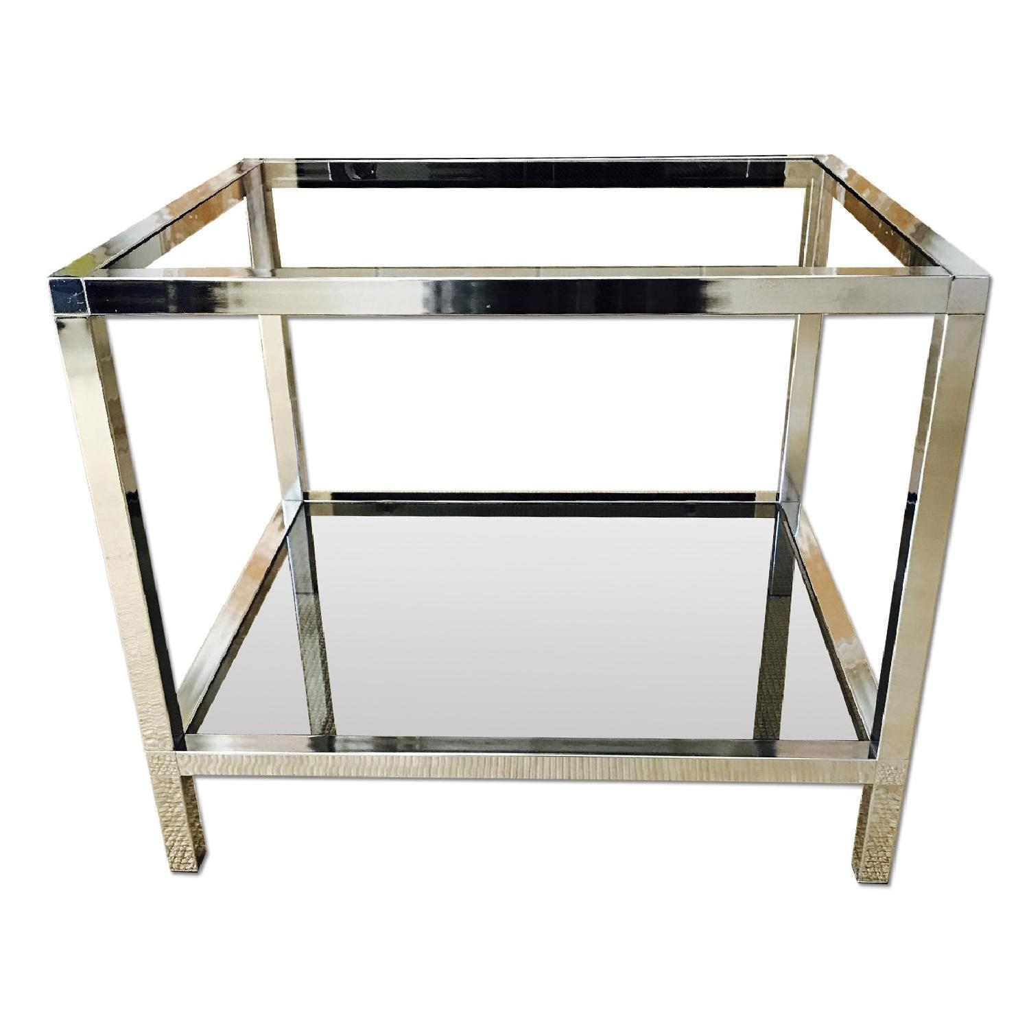 Mid Century Chrome Side Table W/ Smoked Glass ...