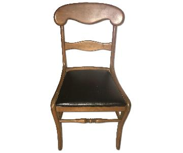 Solid Wood & Leather Seat Dining/Accent Chair