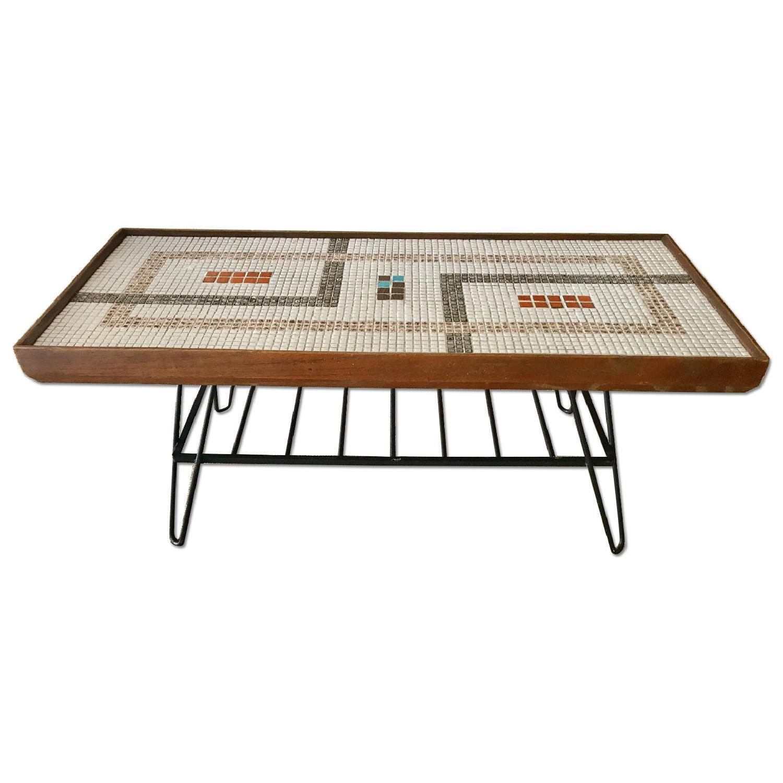 Mid Century 50 s Coffee Table w Mosaic Tile AptDeco