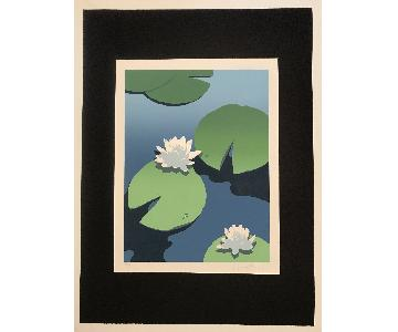 Mid Century Painting Waterscape - Lily Pads