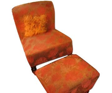 Pier 1 Red & Gold Floral Slipper Chair & Ottoman