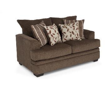 Bob's Brown Fabric Love Seat