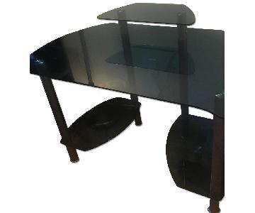 Glass Desk w/ Shelves