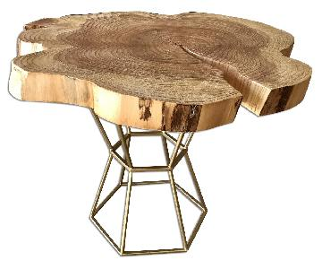Live Edge Coffee Table on Gilt Pedestal Base