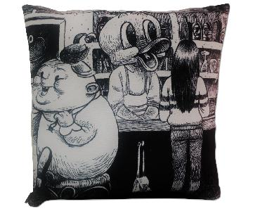 Black & White Printed 1950's Cartoon Pillow