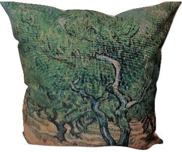 Abstract Nature Tree Blue Green Pillow