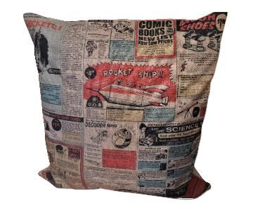 Graphic Newspaper Printed Throw Pillow