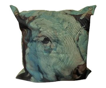 Abstract Graphic Cow Printed Throw Pillow