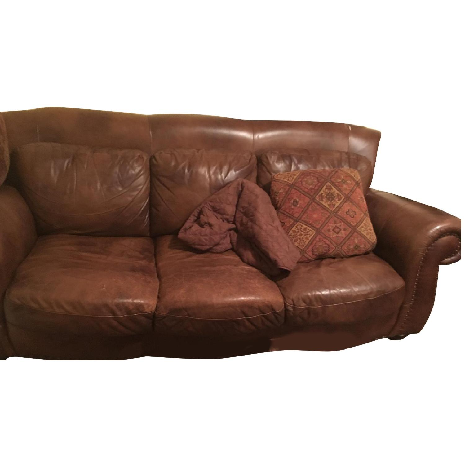 Raymour & Flanigan Faux Leather Sofa Loveseat Chair AptDeco