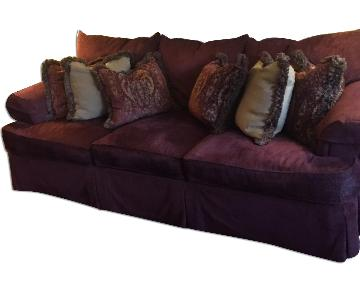 Burgundy Feather Filled Sofa