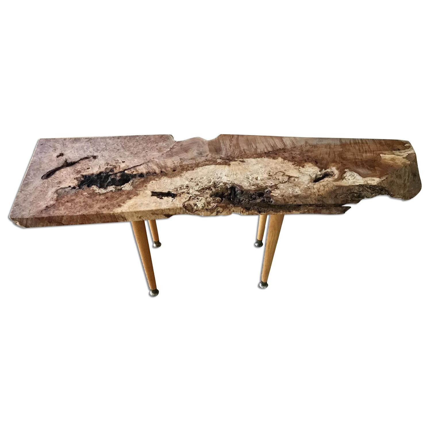 Live Edge Coffee Table on Gilt Pedestal Base AptDeco