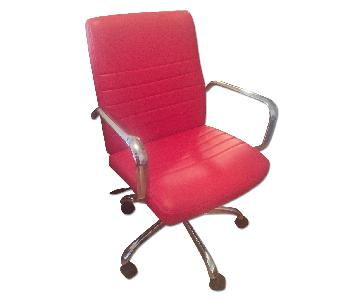 Global Furniture USA Red Faux Leather Vinyl Chrome Office Ch
