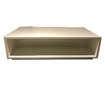 Crate & Barrel Modern Low White Wood Veneer Coffee Table