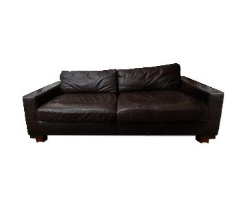 West Elm Dark Leather Couch
