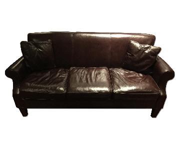 Macy's Decoro Leather Down Feather Sofa