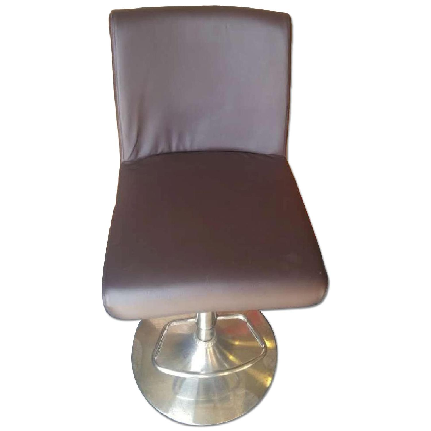 Modern Brown Leatherette Barstool w/ Padded Seat & Back