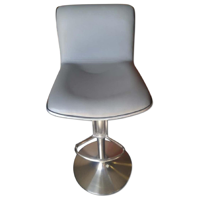 Modern Barstool in Light Grey Leatherette w/ Aluminum Rim