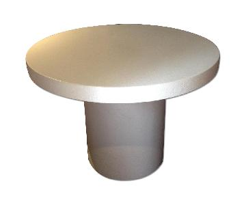 Lacquered Linen Round Dining Table