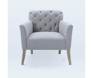 Heathered Crosshatch Feather Gray Armchair w/ Almond Legs