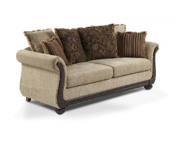 Bob's Beige Fabric Sofa w/ Wood Details