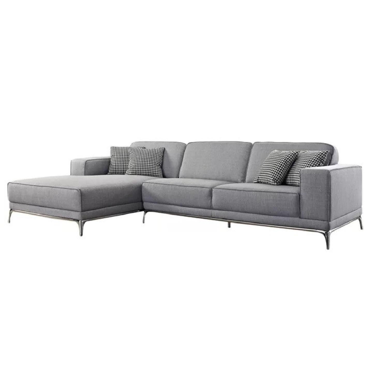 Agata Light Grey Woven Fabric Sectional Sofa AptDeco