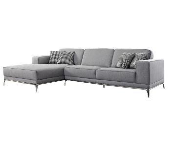 Agata Light Grey Woven Fabric Sectional Sofa