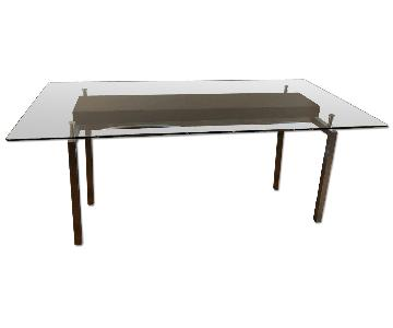 Crate & Barrel Glass Top Dining Table