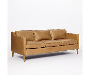 West Elm Hamilton Sienna Leather Sofa in Tan Color