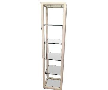 CB2 White Lacquer & Glass Bookshelf