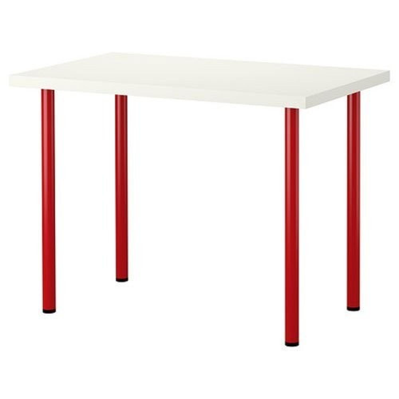 Ikea White Glass Table Desk W Red Metal Legs Aptdeco